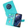 Nokia 9 PureView Hoesje Kaarthouder Book Case Telefoonhoesje Groen