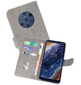 Nokia 9 PureView Hoesje Kaarthouder Book Case Telefoonhoesje Grijs