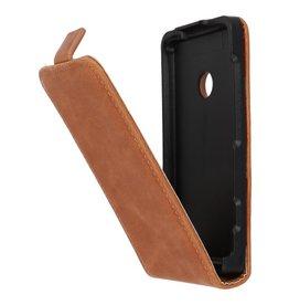 Bruin Lederen Flip Case voor de Nokia Lumia 520/525
