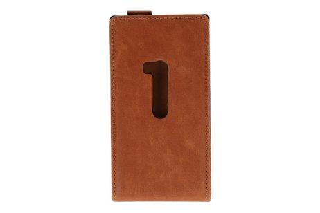 Bruin Lederen Flip Case voor de Nokia Lumia 920