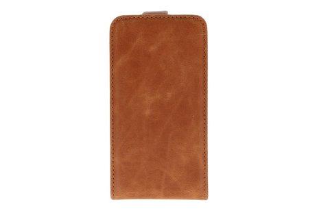 Bruin Lederen Flip Case voor de Samsung Galaxy S2 I9100