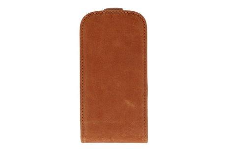 Bruin Lederen Flip Case voor de Samsung Galaxy S3 Mini I8190
