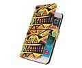 Gele kunst hoesje booktype wallet cover Hoesje voor Apple iPhone 6/6s