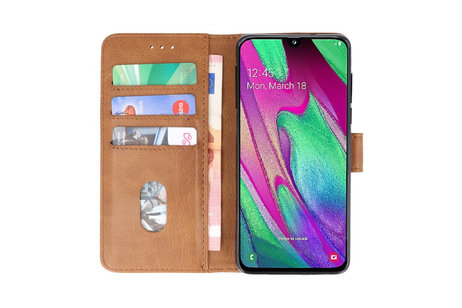 Bookstyle Wallet Cases Hoesje voor Samsung Galaxy A40 Bruin