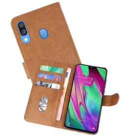 Samsung Galaxy A40 Hoesje Kaarthouder Book Case Telefoonhoesje Bruin