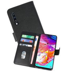 Samsung Galaxy A70 Hoesje Kaarthouder Book Case Telefoonhoesje Zwart