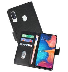 Samsung Galaxy A20e Hoesje Kaarthouder Book Case Telefoonhoesje Zwart