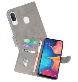 Samsung Galaxy A20e Hoesje Kaarthouder Book Case Telefoonhoesje Grijs