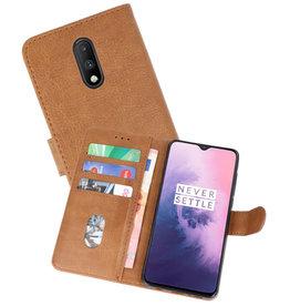 OnePlus 7 Hoesje Kaarthouder Book Case Telefoonhoesje Bruin