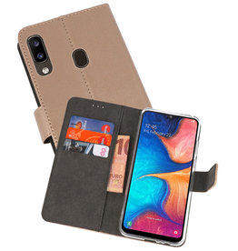 Wallet Cases Hoesje Samsung Galaxy A20 Goud