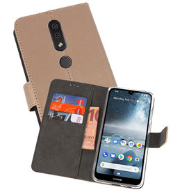 Wallet Cases Hoesje Nokia 4.2 Goud