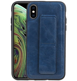 Grip Stand Hardcase Backcover iPhone XS / X Blauw