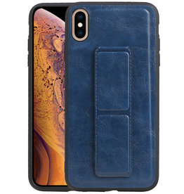 Grip Stand Hardcase Backcover iPhone XS Max Blauw