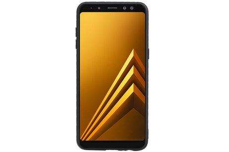 Grip Stand Hardcase Backcover voor Samsung Galaxy A8 (2018) Zwart