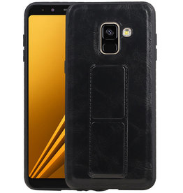 Grip Stand Hardcase Backcover Samsung Galaxy A8 (2018) Zwart