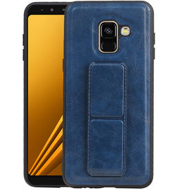 Grip Stand Hardcase Backcover Samsung Galaxy A8 (2018) Blauw