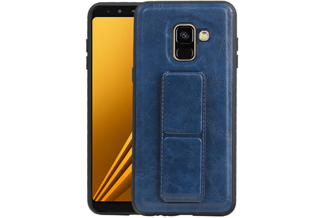 Grip Stand Hardcase Backcover voor Samsung Galaxy A8 (2018) Blauw