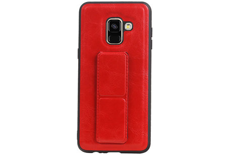 Grip Stand Hardcase Backcover voor Samsung Galaxy A8 (2018) Rood