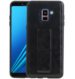 Grip Stand Hardcase Backcover Samsung Galaxy A8 Plus Zwart