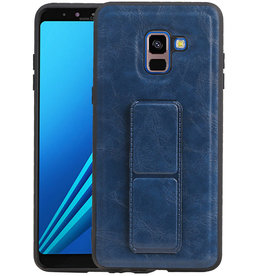 Grip Stand Hardcase Backcover Samsung Galaxy A8 Plus Blauw