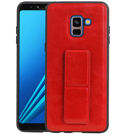 Grip Stand Hardcase Backcover Samsung Galaxy A8 Plus Rood