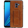 Grip Stand Hardcase Backcover Samsung Galaxy A8 Plus Bruin