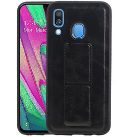 Grip Stand Hardcase Backcover Samsung Galaxy A40 Zwart