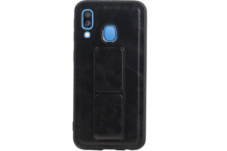 Grip Stand Hardcase Backcover voor Samsung Galaxy A40 Zwart