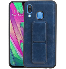 Grip Stand Hardcase Backcover Samsung Galaxy A40 Blauw