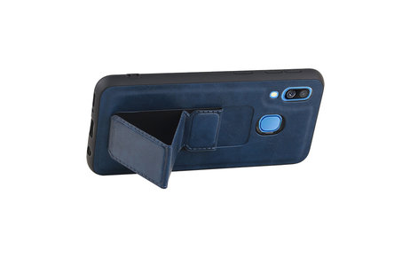 Grip Stand Hardcase Backcover voor Samsung Galaxy A40 Blauw