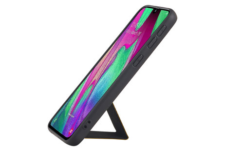 Grip Stand Hardcase Backcover voor Samsung Galaxy A40 Bruin
