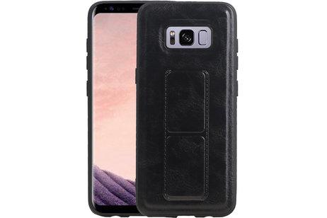 Grip Stand Hardcase Backcover voor Samsung Galaxy S8 Zwart