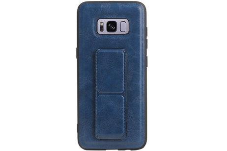 Grip Stand Hardcase Backcover voor Samsung Galaxy S8 Blauw