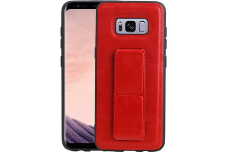 Grip Stand Hardcase Backcover voor Samsung Galaxy S8 Rood