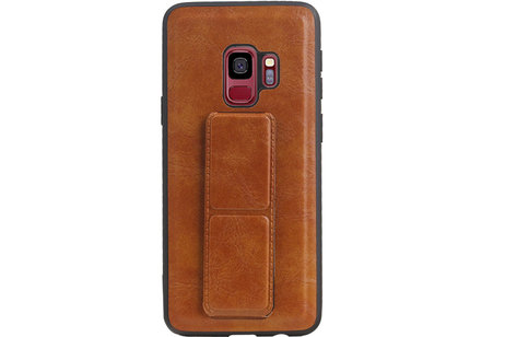 Grip Stand Hardcase Backcover voor Samsung Galaxy S9 Bruin