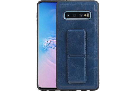 Grip Stand Hardcase Backcover voor Samsung Galaxy S10 Blauw