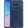 Grip Stand Hardcase Backcover Samsung Galaxy S10 Blauw