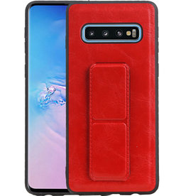 Grip Stand Hardcase Backcover Samsung Galaxy S10 Rood