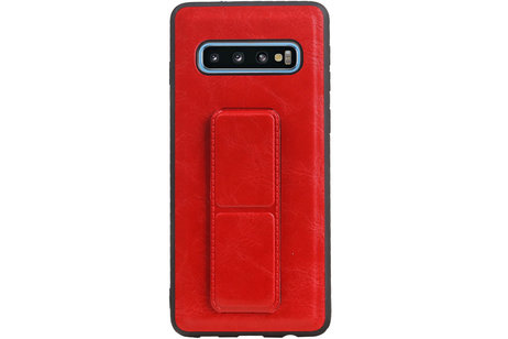 Grip Stand Hardcase Backcover voor Samsung Galaxy S10 Rood