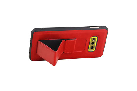 Grip Stand Hardcase Backcover voor Samsung Galaxy S10E Rood