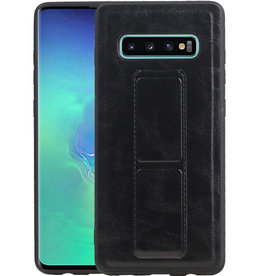 Grip Stand Hardcase Backcover Samsung Galaxy S10 Plus Zwart