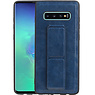 Grip Stand Hardcase Backcover Samsung Galaxy S10 Plus Blauw