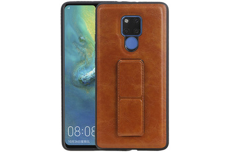 Grip Stand Hardcase Backcover voor Huawei Mate 20 X Bruin