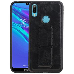 Grip Stand Hardcase Backcover voor Huawei Y6 2019 Zwart