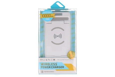PowerBank + Draadloze Oplader + Bureaulader met Stand Wit