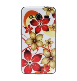 Wit Bloem TPU Case Cover Hoesje voor Samsung Galaxy Core 2 G355H