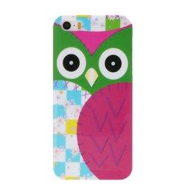 Roze Uil Hard Case Cover Hoesje voor Apple iPhone 5/5s/SE