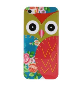 Rood Uil Hard Case Cover Hoesje voor Apple iPhone 5/5s/SE