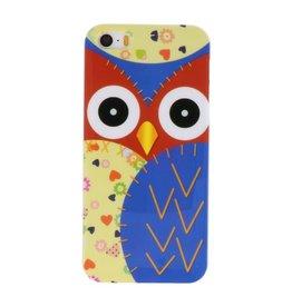 Blauw Uil Hard Case Cover Hoesje voor Apple iPhone 5/5s/SE