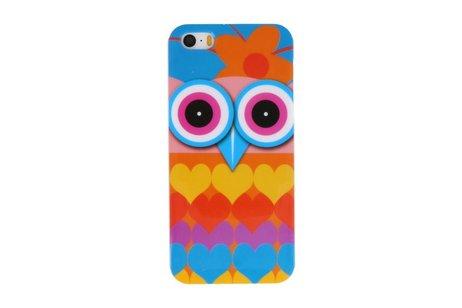 Uil met Hartjes Hard Case Cover Hoesje voor Apple iPhone 5/5s/SE